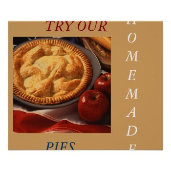 Apple Pie Art Poster Menu by CREATIVEforBUSINESS at Zazzle