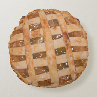 Apple Pie Baked and Raw Round Pillow