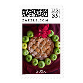Apple pie made to look like Christmas wreath Postage Stamps