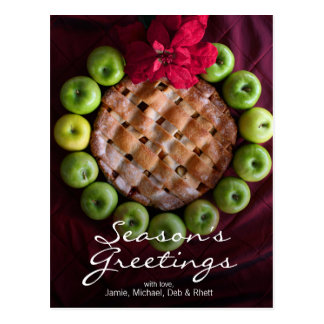Apple pie made to look like Christmas wreath Postcard