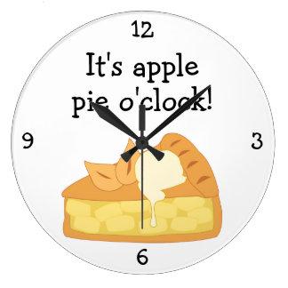 Apple Pie O'Clock fun food graphic Large Clock