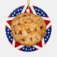 Apple Pie on Stars & Stripes Ceramic Ornament