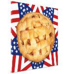 Apple Pie on Stars & Stripes Design Stretched Canvas Print