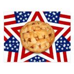 Apple Pie on Stars & Stripes Design Postcard