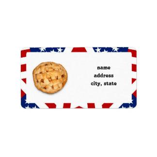 Apple Pie on Stars Stripes Personalized Address Labels