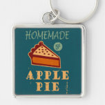 Apple Pie Silver-Colored Square Keychain
