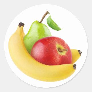 Apple, plátano y pera pegatina redonda