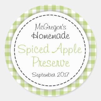 Apple preserve green round  jam jar food label stickers