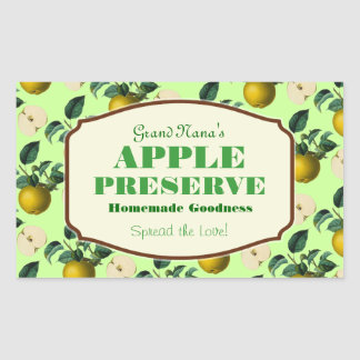 Apple Preserve Jam Label Rectangular Sticker