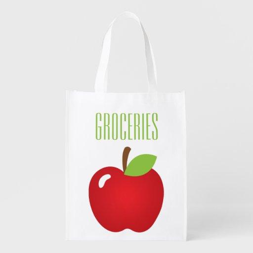 Apple Print Grocery Reusable Grocery Bag