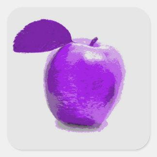 Apple púrpura da fruto arte de la pintura - calcomanía cuadrada personalizada