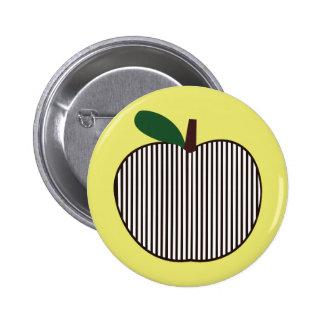 Apple rayado blanco y negro pin redondo de 2 pulgadas