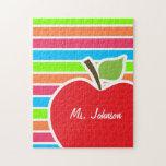 Apple; Rayas de neón; Verde azul rosado Rompecabeza