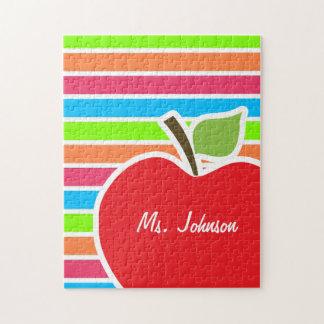 Apple; Rayas de neón; Verde azul rosado Puzzle