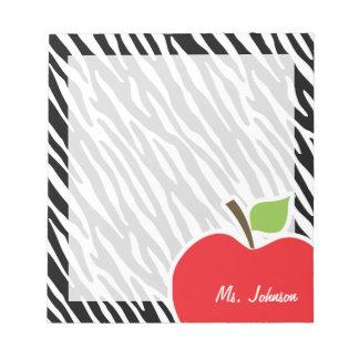Apple; Rayas negras y blancas de la cebra Libreta Para Notas