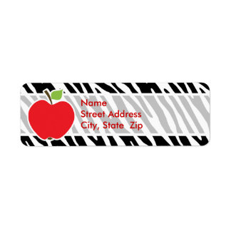 Apple; Rayas negras y blancas de la cebra Etiqueta De Remite