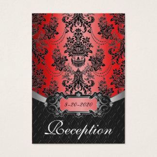 Apple Red & Black Damask Wedding Reception Cards