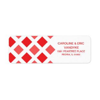 Apple Red Diamond Check Custom Personalized Label