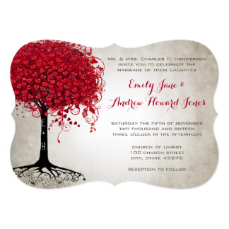 Apple Red Heart Leaf Tree Forest Wedding Card