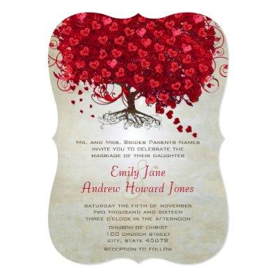 Apple Red Heart Leaf Tree Wedding Invites