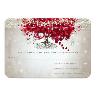 Apple Red Heart Leaf Wedding RSVP Card