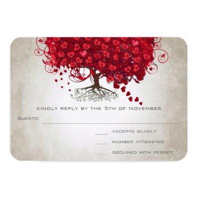 Apple Red Heart Leaf Wedding RSVP 3.5x5 Paper Invitation Card