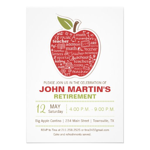 Apple Retirement Invitation