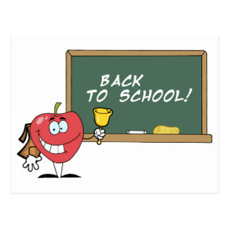 Apple Ringing A Bell In Front A School Chalk Board Postcard