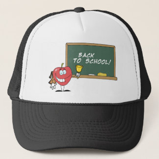Apple Ringing A Bell In Front A School Chalk Board Trucker Hat