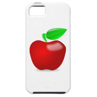 Apple rojo brillante con el tronco hojeado verde iPhone 5 funda