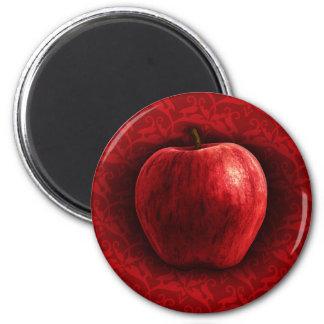 Apple rojo brillante imán redondo 5 cm