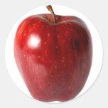 Apple rojo brillante pegatinas redondas