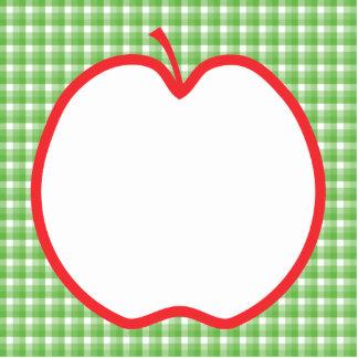 Apple rojo. Con el fondo verde y blanco del contro Llavero Fotográfico