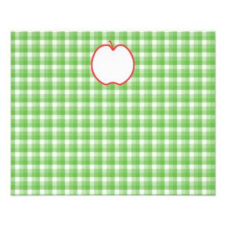 """Apple rojo. Con el fondo verde y blanco del contro Folleto 4.5"""" X 5.6"""""""