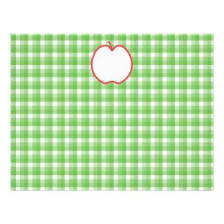 """Apple rojo. Con el fondo verde y blanco del contro Folleto 8.5"""" X 11"""""""