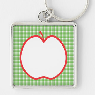 Apple rojo. Con el fondo verde y blanco del contro Llavero Cuadrado Plateado
