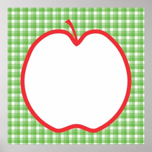 Apple rojo. Con el fondo verde y blanco del contro Póster