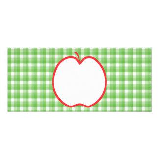 Apple rojo Con el fondo verde y blanco del contro Plantilla De Lona