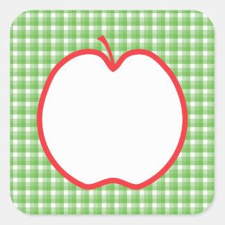 Apple rojo. Con el fondo verde y blanco del Calcomanías Cuadradas