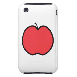 Apple rojo con un esquema negro tough iPhone 3 fundas