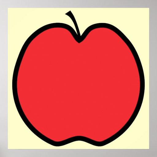 Apple rojo con un esquema negro poster