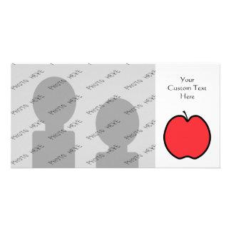 Apple rojo con un esquema negro tarjeta fotografica personalizada