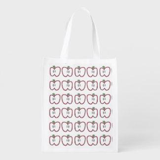 Apple rojo corta el bolso bolsas reutilizables
