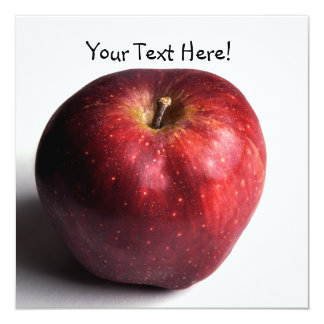 """Apple rojo en blanco invitación 5.25"""" x 5.25"""""""