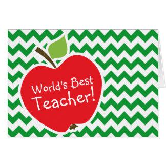 Apple rojo en las rayas verdes retras de Kelly Tarjeta De Felicitación