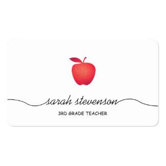 Apple rojo enseña blanco simple del profesor eleme tarjetas de visita