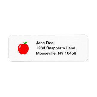 Apple rojo grande etiqueta de remite
