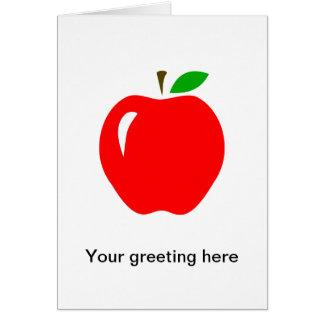 Apple rojo grande tarjeta de felicitación