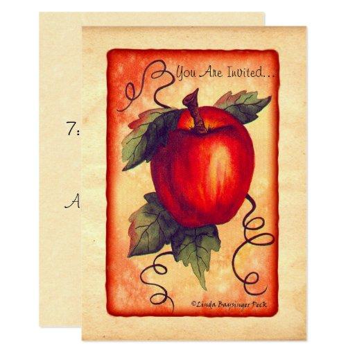 """Apple rojo invitación 5"""" x 7"""""""