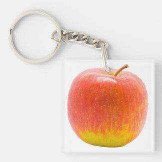 Apple rojo llavero cuadrado acrílico a doble cara